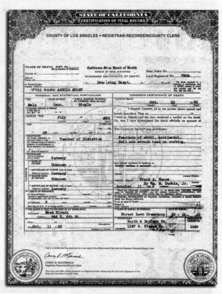 Certificato di Morte di Arnold Ehret