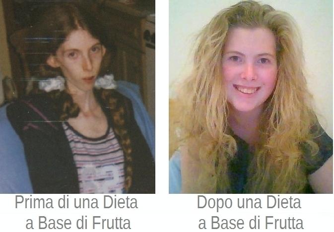 Prima e dopo una dieta di frutta