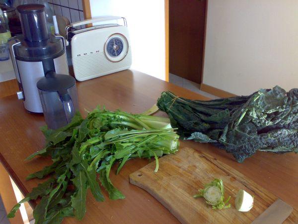 preparazione verdure a foglia verde