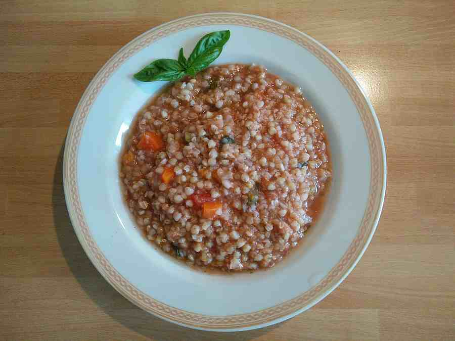 Il piatto di grano saraceno appena cucinato